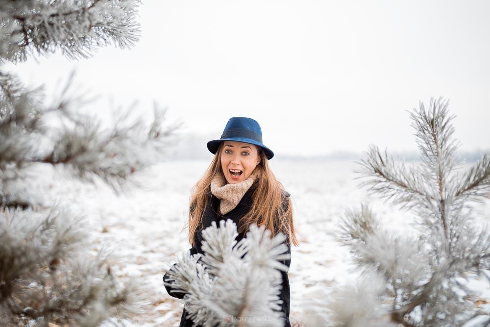Sesja fotograficzna, zima, śnieg, mróz
