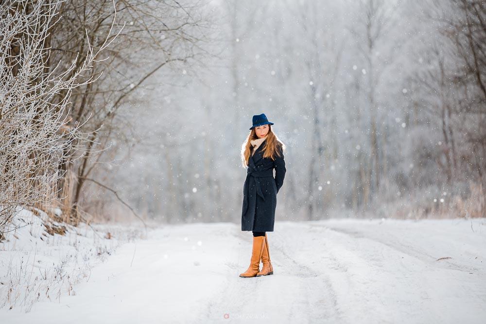 Sesja fotograficzna, zima, śnieg, kobieca, fotograf Tarnobrzeg