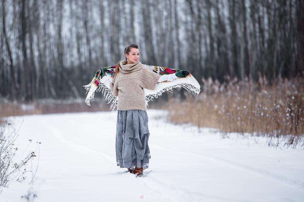 zima, Sesja fotograficzna, kobieca, fotograf Tarnobrzeg