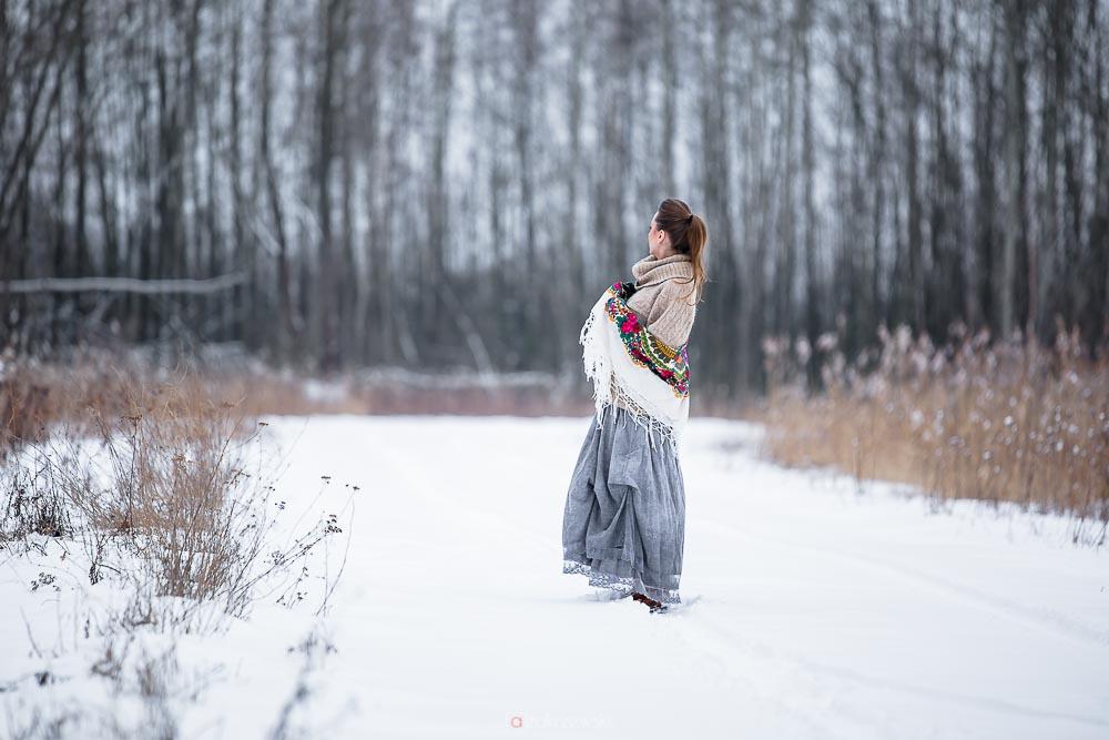Sesja, zima, śnieg, kobieca,